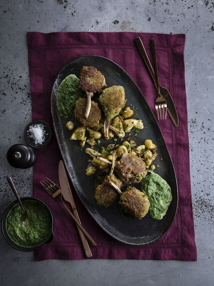 """Thermomix   Parmesan-crusted lamb cutlets, creamed spinach and smashed spuds   Entertaining with Dani Valent cookbook + recipe chip   """"Romantic"""" menu plan  """