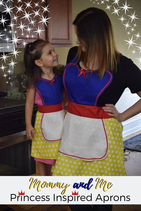 Mommy and Me Princess Apron  AdultTeen Princess Apron   Kitchen Apron  Disney Apron  Disneyland Clothes  Snow White
