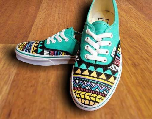 Tribal Aztec Painted Shoes  Vans by denimtrend on Etsy, $65.00