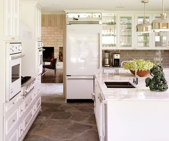 one of my all time favorite kitchens love the white viking appliances the grey subway backsplash tile the mirror backed upper cabinets - Kitchen Remodel With White Appliances