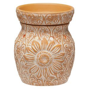 Sol Full Size Scentsy Warmer Delicate Climbing Tendrils Accent A Giant Embossed Sunflower