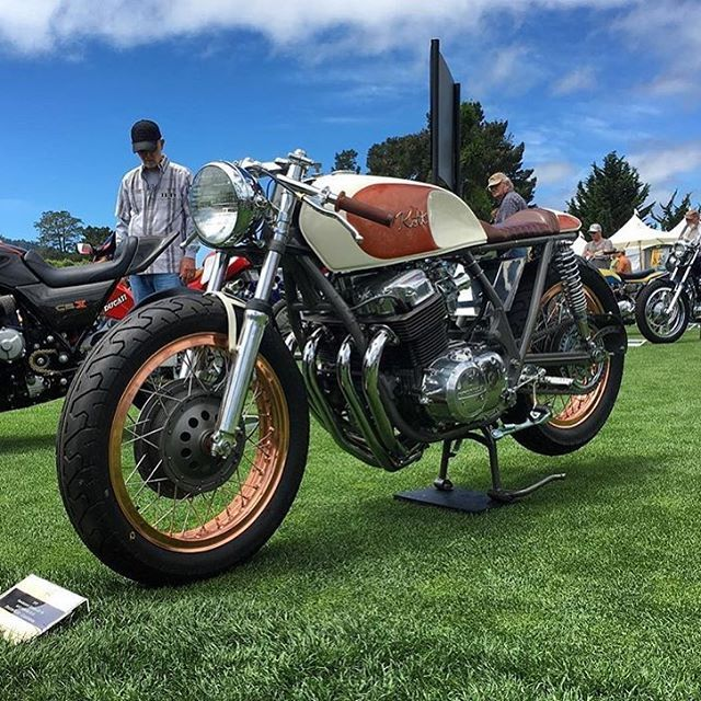 1973 Honda #CB750 by @kottmotorcycles, sighted by @oldsoulsandiron at the Quail Motorcycle Gathering.  #caferacer #hondacb #motolove