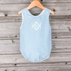 Southern Living by Smocked Auctions -- Soft Turquoise Gingham Boy Bubble available now at www.smockedauctions.com! Limited quantities!