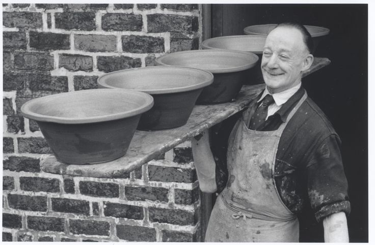 Isaac Button, Yorkshires last traditional country potter with bread pancheons. Soil Hill Pottery.