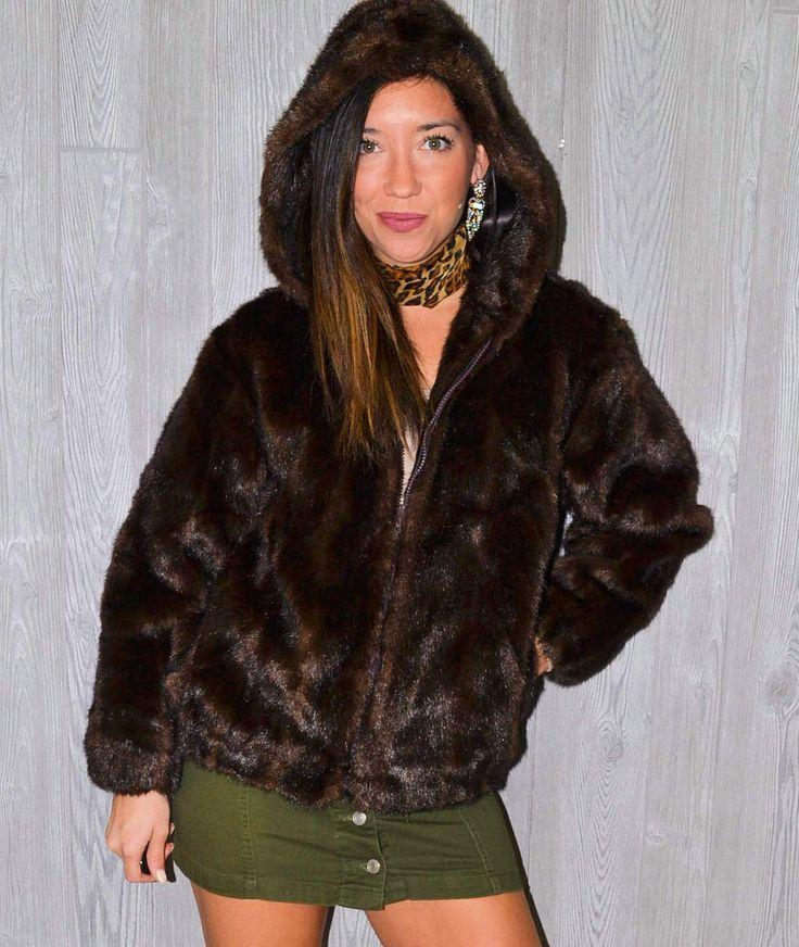 Brown Fur Coat Cropped Dark Brown Hooded Jacket Boho Hippie Chic Fall Winter Vintage 90's Size Medium Gypsy Faux Fur Modern Zip Up HOOD Ski