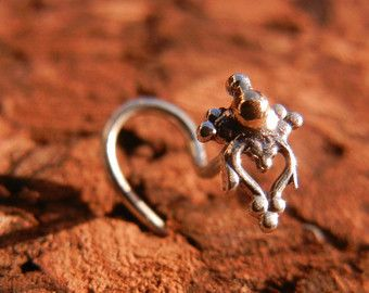 Kamala. Nose Stud. Gold and silver handcrafted tribal nose stud. Tribal body jewelry. Beleaf Jewelry