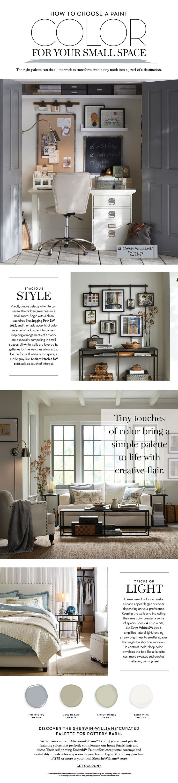 How to paint an apartment - Choose A Paint Color For Your Small Space Pottery Barn