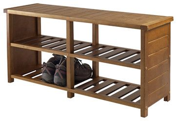 Winsome Keystone Shoe Rack Bench in Teak Finish - transitional - Shoeracks - Cymax
