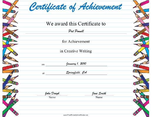 21 best student achievement awards images on pinterest awards this creative writing achievement certificate features a border of various pencils on a background of ruled yadclub Image collections