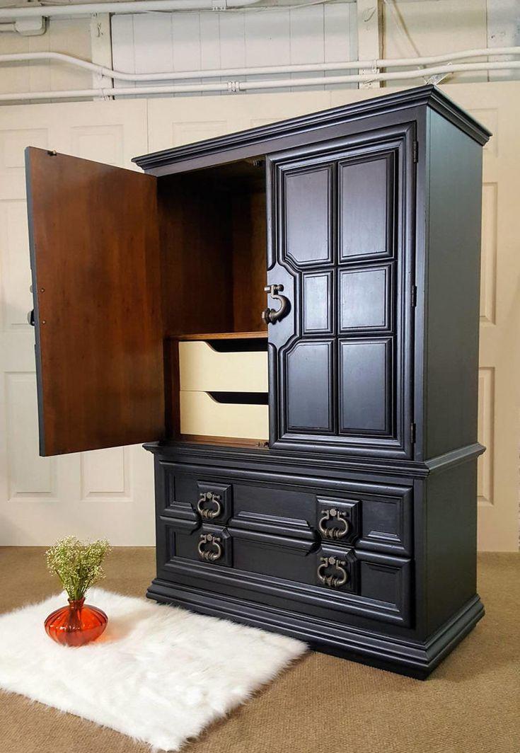 Black armoire thomasville dresser chest wardrobe by
