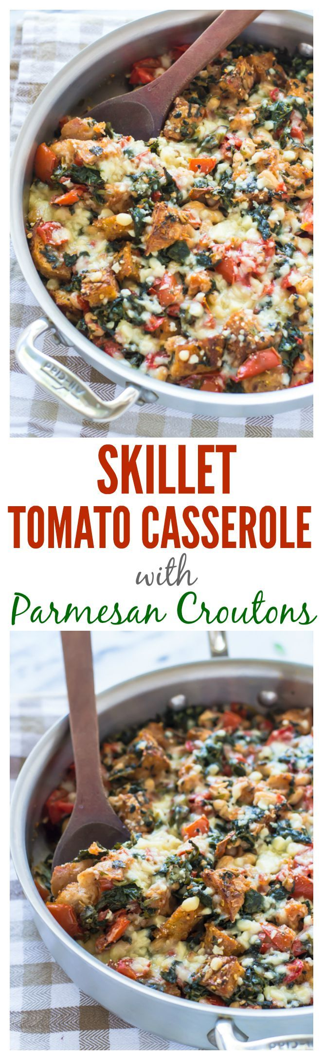 Skillet Tomato Casserole with White Beans and Parmesan Croutons. A gorgeous one-pan vegetarian meal! #vegetarian #tomato