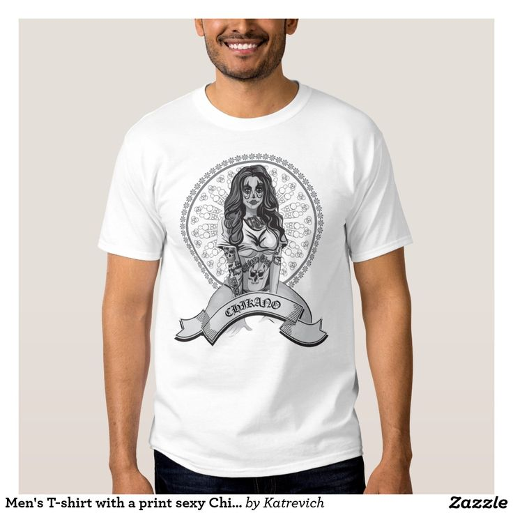 Men's T-shirt with a print sexy Chicano girl.