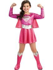 Girls Pink Supergirl Costume -Superhero Costumes -Girls Costumes -Halloween Costumes - Party City