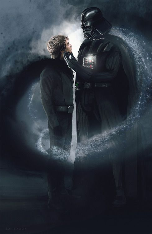 """laivaaja: """"My visualization attempts of a great Vader/Luke fic continue. If you have not yet read the latest Star Wars fic """"Allegiance"""" by @kaelinaloveslomaris go check it out:  http://archiveofourown.org/works/6745156/chapters/16127191  I have always been fascinated with the idea of the dark and light side of the Force. Rather than seeing it as a question good and evil, I see one single element similar to the Taoist model of Yin and Yang, which I wanted to depict in this image (...)"""""""