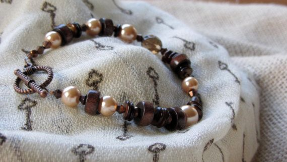 Brown and Champagne Beaded Bracelet by AmarisJewelry on Etsy, $7.00