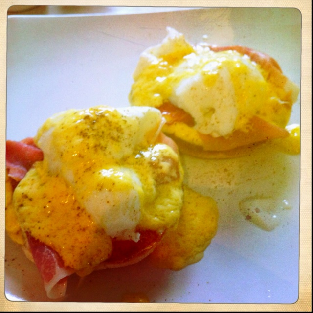 Eggs benedict for breakfast.