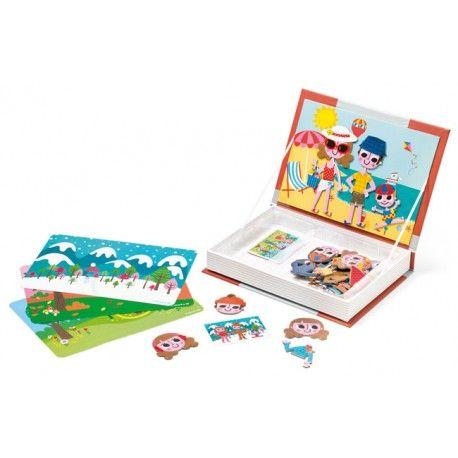 Libro magnético de las  4 estaciones.Combina bañadores con gorros de nieve en los paisajes de las cuatro estaciones. Aprende jugando!