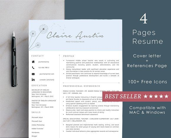 Professional Resume Template by Resume Boutique Co on @creativemarket