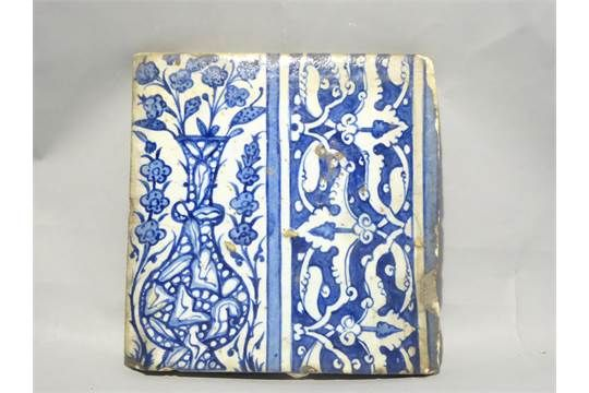 A C16th-C17th tile in Ottoman Iznik style manufactured in Damascus, Syria. Decorated with a 'marb