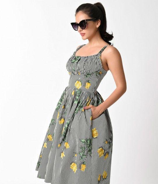 1950s Style Black & White Stripe Yellow Texas Rose Norma Jean Swing Dress