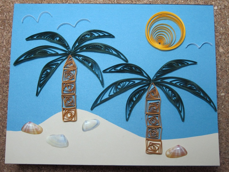 quilled beach / palm trees