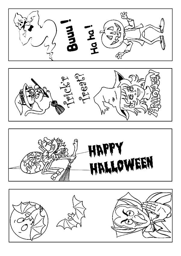 Printable Coloring Halloween Bookmarks - Worksheet & Coloring Pages
