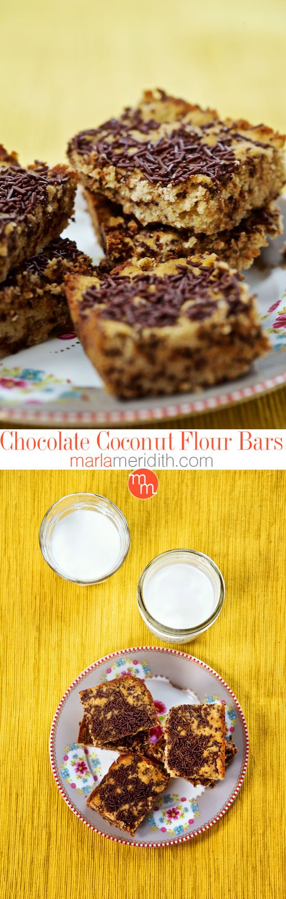 Gluten Free Chocolate Coconut Flour Bars   https://MarlaMeridith.com  Marla Meridith  More Gluten Free Chocolate, Bar Recipe