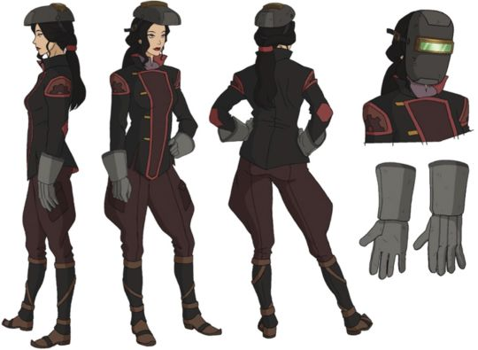Asami concepts and designs by Lauren Montgomery, Christie Tseng, and Bryan Konietzko. Color by Sylvia Filcak-Blackwolf and Bryan Konietzko.