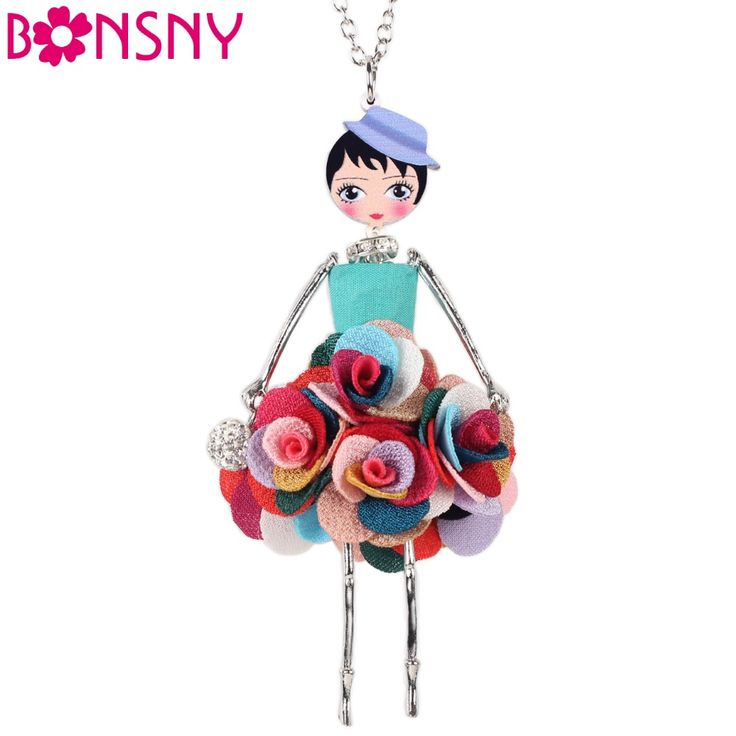 Statement Flower Doll Necklace Dress Handmade French Doll Pendant s Alloy Girl Women Flower $10.19 => Save up to 60% and Free Shipping => Order Now! #fashion #woman #shop #diy www.ajewelry.net/...