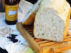 Receta de pan, pan caser, pan fácil, pan de cerveza, pan de cerveza, avena y sésamo, pan en panificadora.