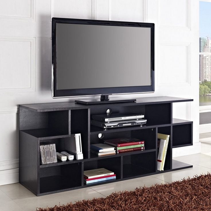 Brilliant Flat Screen TV Stands Design with Interesting Bookshelves facing Wide Beige Carpet Rug