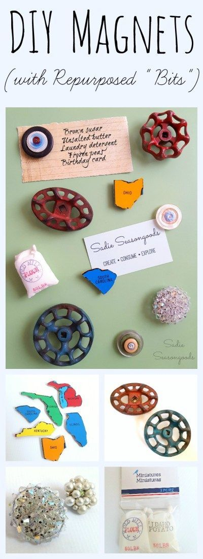 "Decorate (and personalize) your fridge with some fun, EASY DIY magnets! Repurpose any ""bits"" you can find- for me, that included broken jewelry, salvaged vintage spigot handles, stacks of vintage buttons, farmhouse-style dollhouse miniatures, and old wooden puzzle pieces. Super easy upcycle that anyone, even a non-crafter, can do! #SadieSeasongoods / http://www.sadieseasongoods.com"