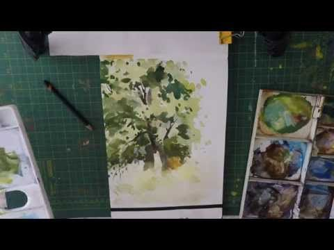 How To Paint Trees In Watercolour Loose watercolor paintng - YouTube