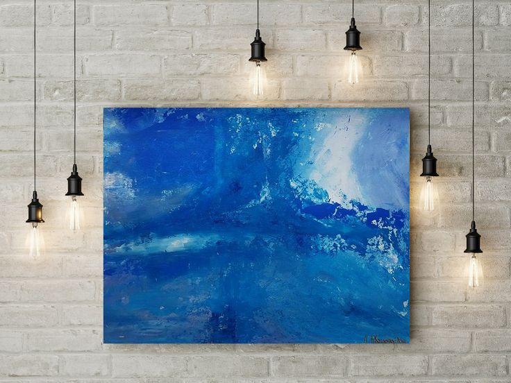 Sea Waves Painting with Palette Knife Living Room Decoration with Original Abstract Painting Texture painting on paper by DeniseArtStudio on Etsy