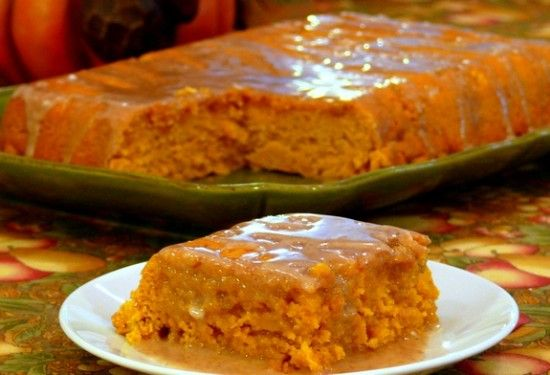 2 Ingredient Pumpkin Cake with Apple Cider Glaze