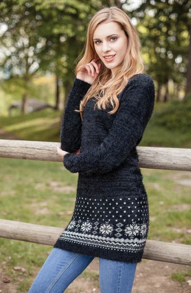Fairisle Border Feather Dress – TWISTED LABEL
