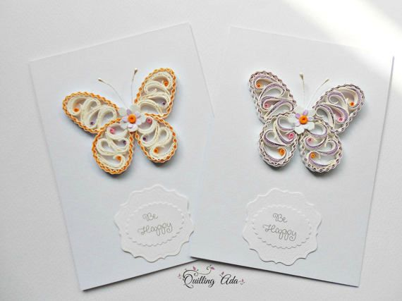 Be happy card-quilling card-butterfly by PaperArtbyAda on Etsy