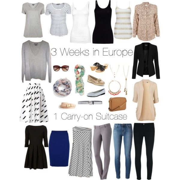 3 weeks in Europe in 1 carry-on. 16 pieces, endless possibilities! Neutral basics in grey, white, black and beige with colourful accessories.