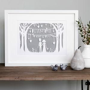 Personalised Heart Strings Print Or Papercut -The best wedding presents are always the ones that come from the heart, so capture the best qualities of the happy couple in your gift. Thoughtful and personalised presents for the newlyweds.