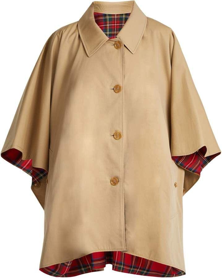 19851d5616 BURBERRY Reversible wool-twill cotton-gabardine cape | Coat ...