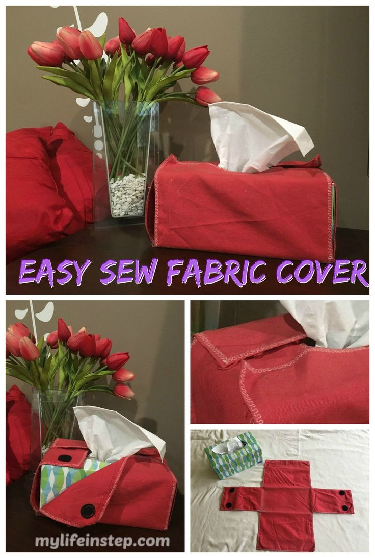 Easy sew DIY red fabric tissue box cover