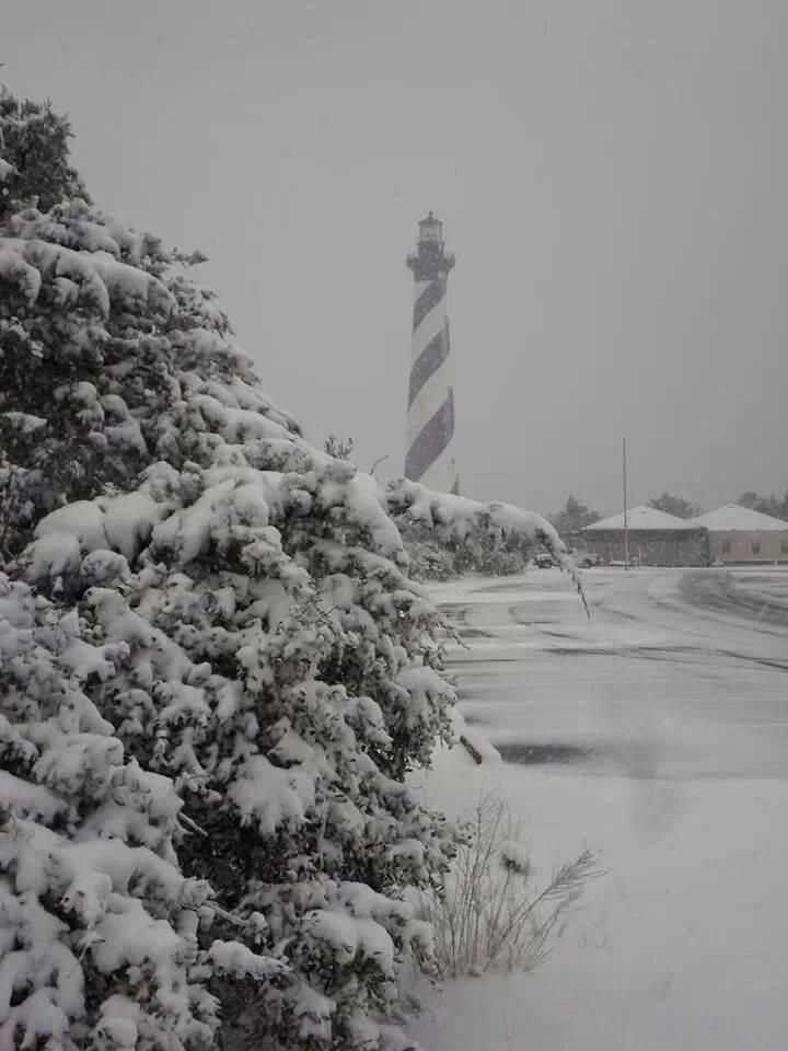 SNOW on the Outer Banks Cape Hatteras Lighthouse, North Carolina, USA February 2014