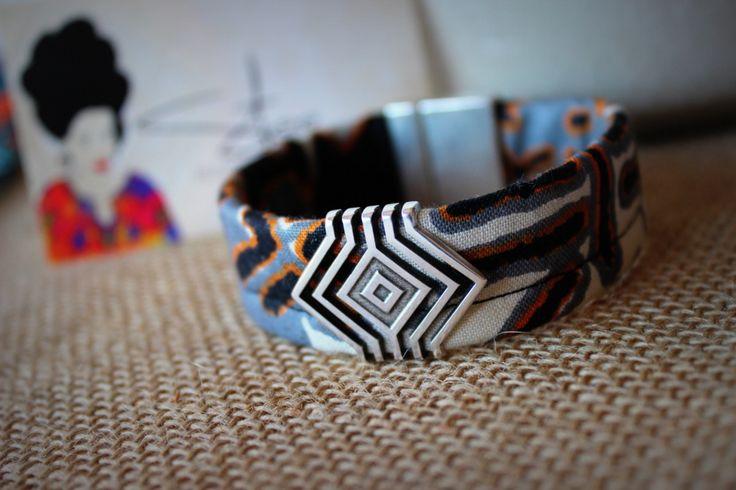 Bracelet HOMME ethnic chic en tissu Wax motifs tribaux et passant géométrique