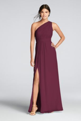You'll love the feel of crinkle chiffon on this flowy floor-length bridesmaid dress with a one-shoulder neckline and an elegant skirt slit.   Crinkle chiffon dress features a one shoulder asymmetric neckline with keyhole detail.  Features a side slit for added movement.  Fully lined. Zipper Back. Imported polyester. Dry clean only.  Also available in Extra Length sizes as Style 4XLF18055. To protect your dress, try our Non Woven Garment Bag.