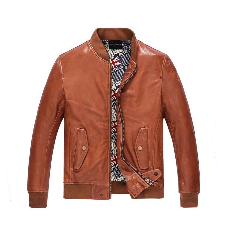 Leather Jacket Men Casual Outfit Short Fashion Sheepskin Aviator Jacket Flight Casual Coat Orange Color