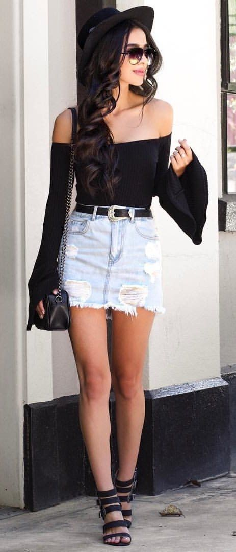 #summer #outfits Black & DenimSkirt From @forever21