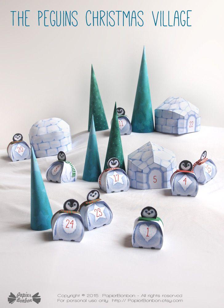 Calendrier de l'Avent Le village des Pingouins : Un village de noël des pingouins avec igloos et sapins. 24 boîtes cadeau à remplir de bonbons, chocolats et petits cadeaux.