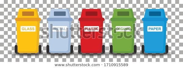 Different Colored Trash Cans Paper Plastic Stock Vector Royalty