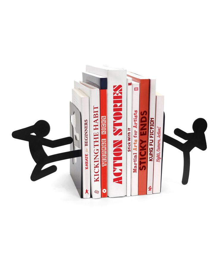 Mustard Stickmen Bookends |Keep bookshelves tidy with a playful edge using these bookends that feature a pair of stick men kicking your favorite volumes into place.