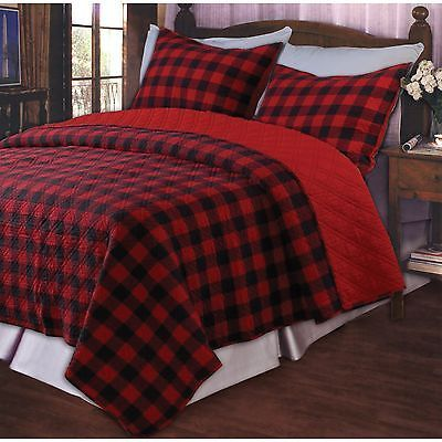 Details About Red Buffalo Plaid Full Queen Quilt Set